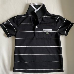 Lacoste Boys Black Striped Golf Polo Shirt